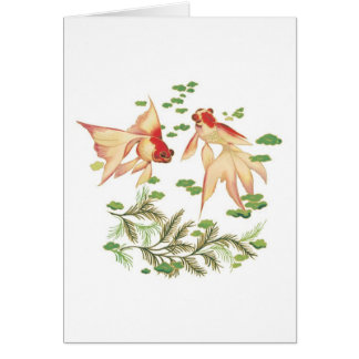 Chinese Gold Fish Good Luck Charms Greeting Card