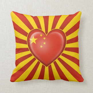 Chinese Heart Flag with Star Burst Cushion