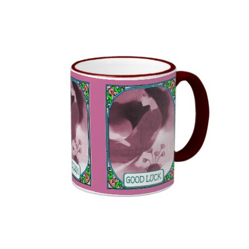 Chinese lady with flowers mugs