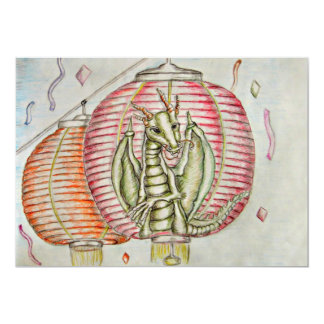 Chinese Lantern 13 Cm X 18 Cm Invitation Card
