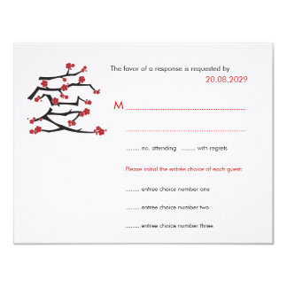 Chinese Love Heart Cherry Blossoms Sakura Wedding 11 Cm X 14 Cm Invitation Card