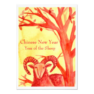 Chinese New Year of the Sheep Ram Red Party 13 Cm X 18 Cm Invitation Card