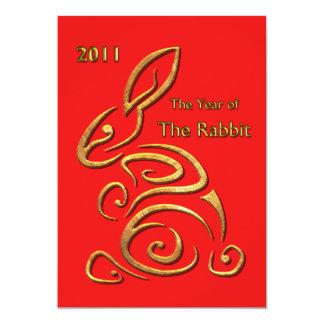 Chinese New Year Rabbit 13 Cm X 18 Cm Invitation Card