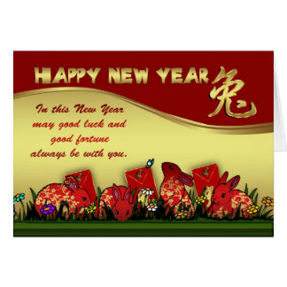 Chinese New Year With Rabbit And Red Envelope Greeting Card