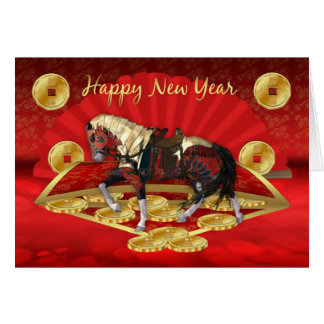 Chinese New Year, Year Horse With Fan And Coins Card