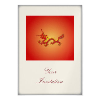 Chinese Red And Gold Dragon Party Event Invitation