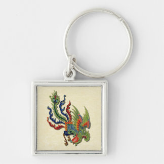 Chinese Wealthy Peacock Tattoo Asian Design Silver-Colored Square Key Ring