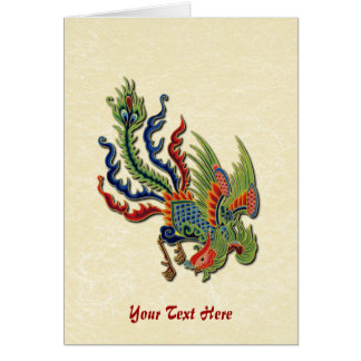 Chinese Wealthy Peacock Tattoo Greeting Card
