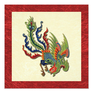 Chinese Wealthy Peacock Tattoo 5.25x5.25 Square Paper Invitation Card