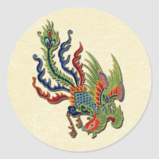 Chinese Wealthy Peacock Tattoo Classic Round Sticker