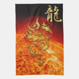 Chinese Year of the Dragon Asian Towel with Sun