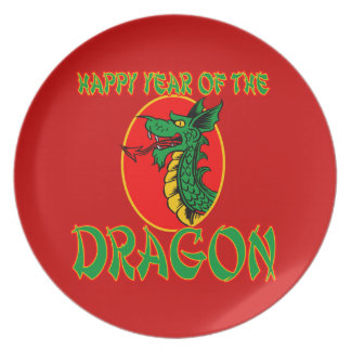 Chinese Year of the Dragon Cartoon Dinner Plates
