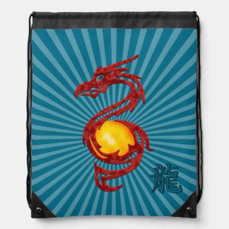 Chinese Year of the Dragon Metalic Red Drawstring Bag