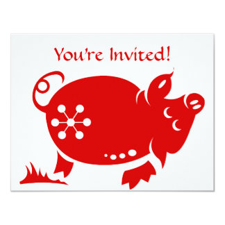 CHINESE ZODIAC PIG PAPERCUT ILLUSTRATION 11 CM X 14 CM INVITATION CARD