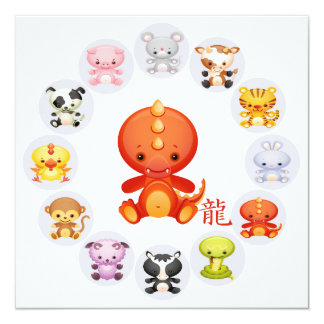 Chinese Zodiac Year of the Dragon Party 13 Cm X 13 Cm Square Invitation Card