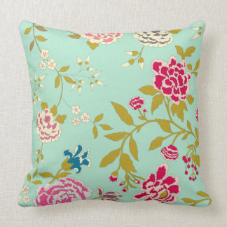 Chinoiserie Floral Design Mint Green Throw Pillow
