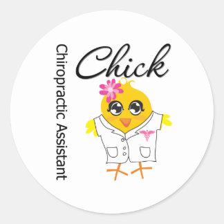 Chiropractic Assistant Chick Round Sticker