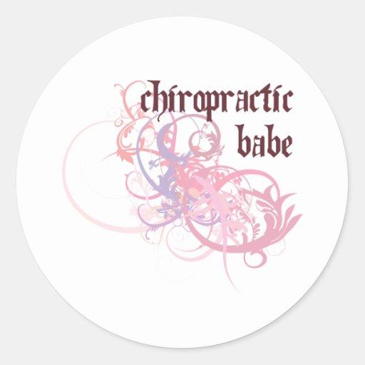 Chiropractic Babe Round Sticker