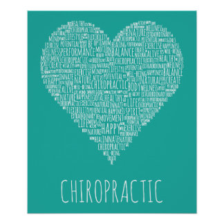 Chiropractic Heart-Shaped Word Collage Poster