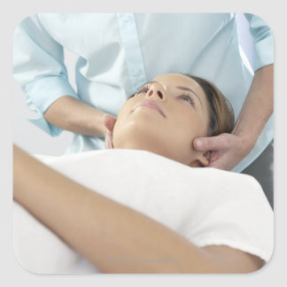 Chiropractic treatment of the neck using the square sticker