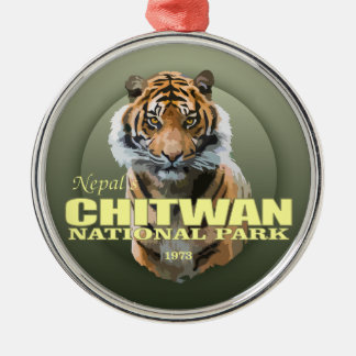 Chitwan NP (Tiger) WT Silver-Colored Round Decoration