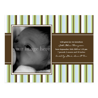 Chocolate and Blue Stripe Baby Announcement Postcard