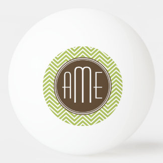 Chocolate and Lime Chevron Pattern with Monogram Ping Pong Ball