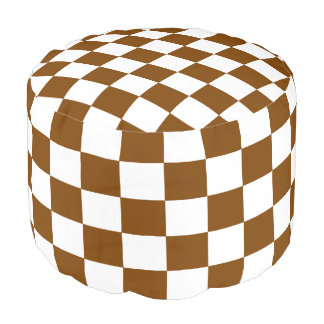 Chocolate and White Checkered Pouf