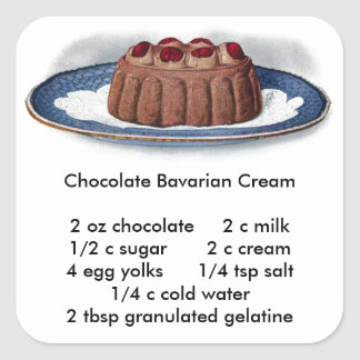 Chocolate Bavarian Cream Vintage Dessert Square Sticker