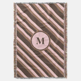 Chocolate brown and pink monogrammed throw blanket