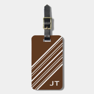 Chocolate Brown and White Pinstripe Monogram Tag For Luggage
