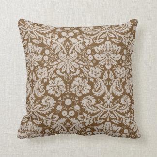 Chocolate Brown Damask Pattern Cushion