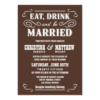 Chocolate Brown Old West Wedding Invitations