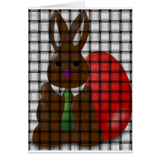 Chocolate Bunny and Egg Woven Design Easter Card
