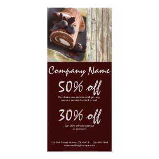 chocolate cake rustic country bakery business rack card