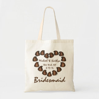 Chocolate Candy Heart Personalized Bridesmaid Tote
