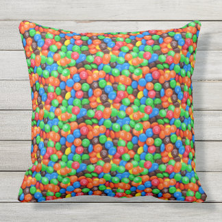 Chocolate candy M&Ms sweets Outdoor Cushion