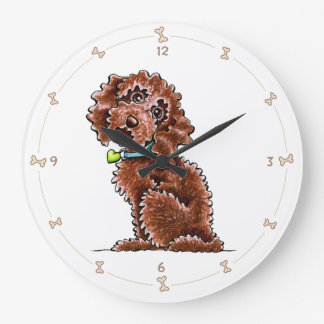 Chocolate Cockapoo Heart Collar Large Clock