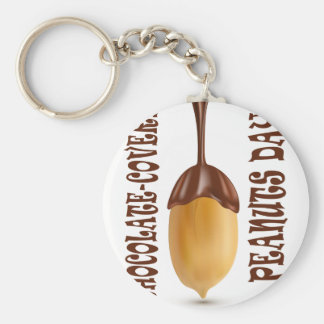 Chocolate-Covered Peanuts Day - Appreciation Day Basic Round Button Key Ring