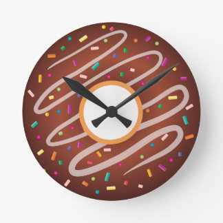 Chocolate Donut with Rainbow Sprinkles Round Clock