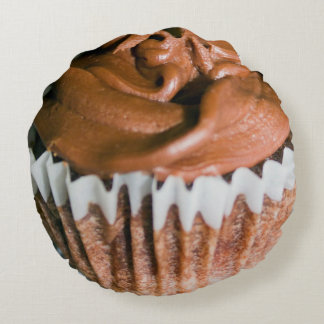 Chocolate Frosted Cupcake Photo Round Cushion