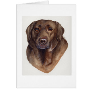 Chocolate Labrador Painted in Watercolour Card