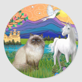 Chocolate Point Himalayan Cat  - Fantasy Land Classic Round Sticker