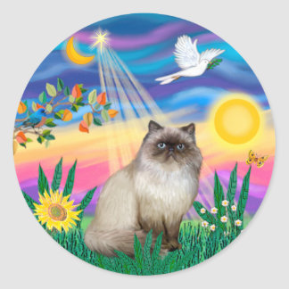 Chocolate Point Himalayan Cat  - Twilight Classic Round Sticker