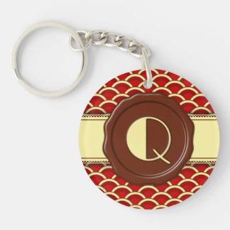 Chocolate Shop Monogram - Cherry Scallops - Q Key Ring