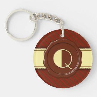 Chocolate Shop Monogram - Cherry Stripes - Q Single-Sided Round Acrylic Key Ring