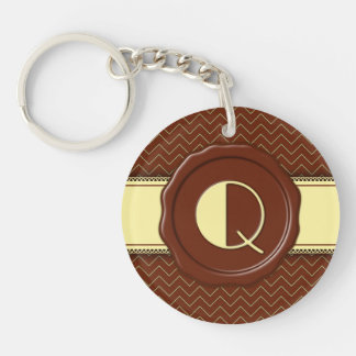 Chocolate Shop Monogram - Mint Chevron - Q Single-Sided Round Acrylic Key Ring