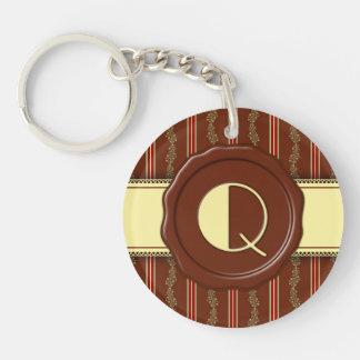 Chocolate Shop Monogram -Mint Floral Stripe - Q Key Ring