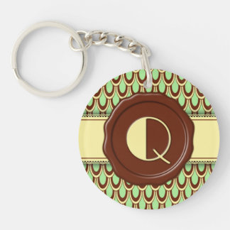 Chocolate Shop Monogram - Mint Scallop - Q Single-Sided Round Acrylic Key Ring