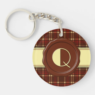 Chocolate Shop Monogram -Red Brown Plaid - Q Single-Sided Round Acrylic Key Ring